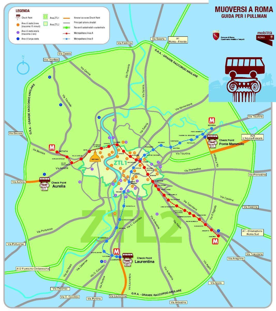 mapka parkingów i przystanków w Rzymie
